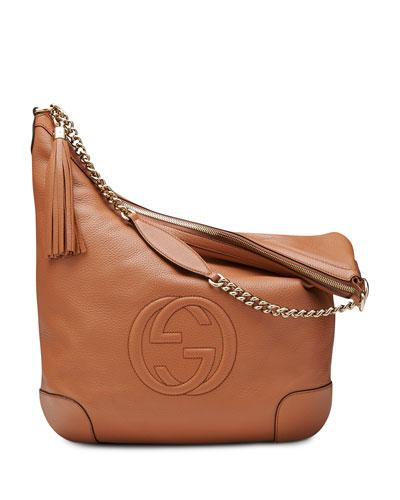 Soho Leather Chain Shoulder Bag, Tan