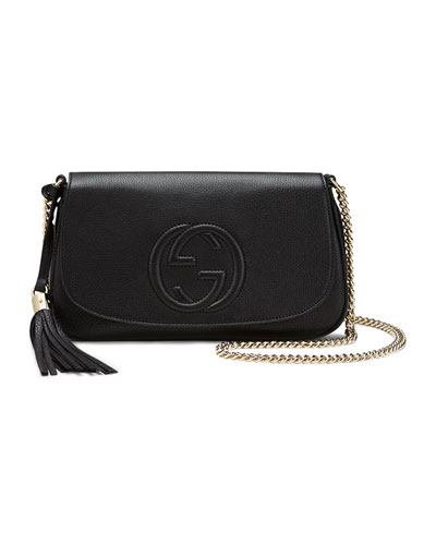 Soho Leather Shoulder Bag, Black