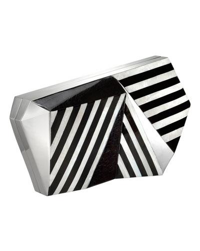 Azura Asymmetric Striped Minaudiere, Black/White