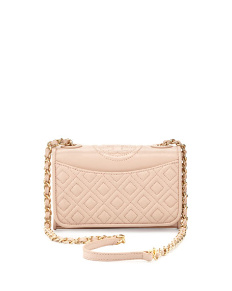 Tory Burch Fleming Quilted Mini Flap Shoulder Bag Pink