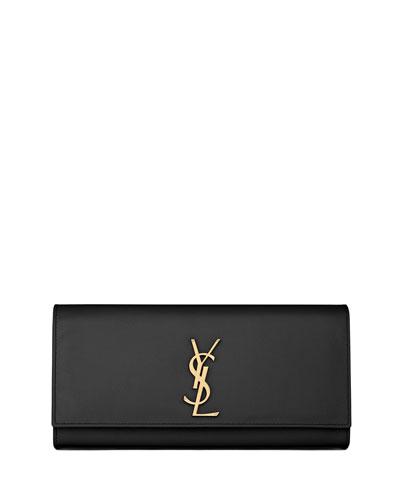 Cassandre Calfskin Clutch Bag, Black