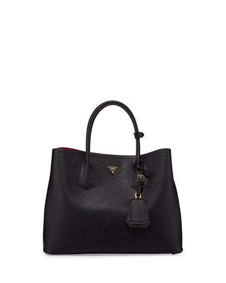 Prada Saffiano Cuir Double Bag, Black (Nero) aa636b2f626a