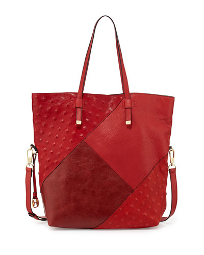City Casual Patchwork Tote Bag, Chili Multi