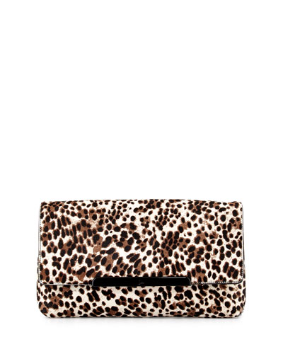 Rougissime Leopard-Print Calf Hair Clutch Bag