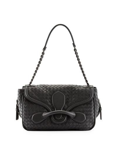 Intreccio Medium Flap Shoulder Bag, Charcoal
