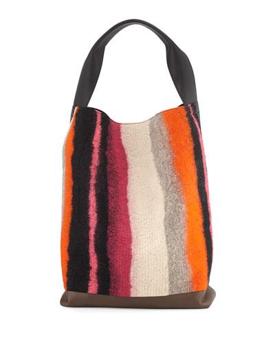 Heavy Stripe Wool Shoulder Bag