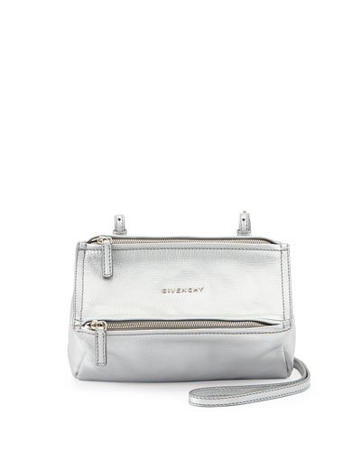 Pandora Mini Leather Crossbody Bag, Silver