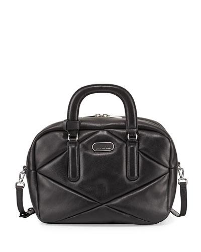 Turn Around Leather Satchel Bag, Black