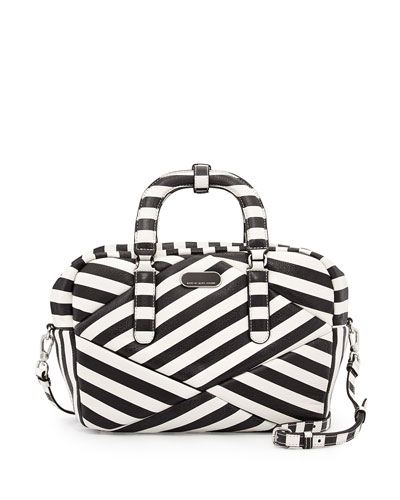 Turn Around Striped Satchel Bag, Black Multi