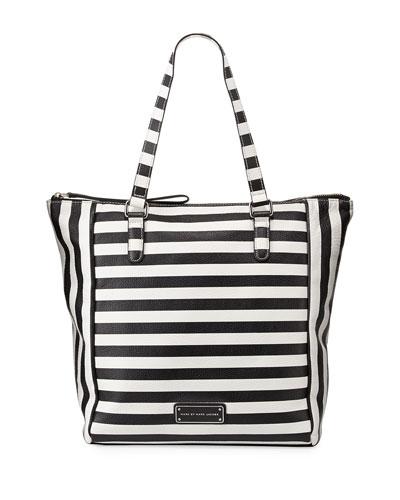 Take Me Striped Leather Tote Bag, Black Multi