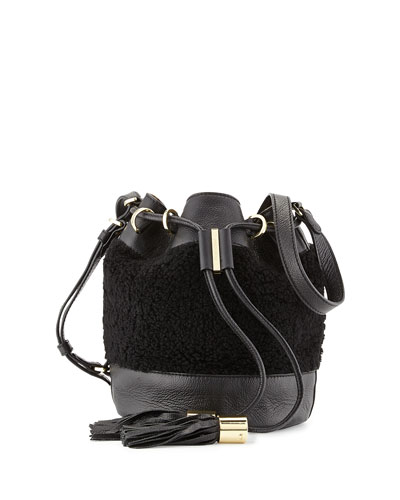 Vicki Small Shearling Bucket Bag, Bamboo