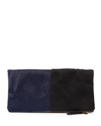 Supreme Bicolor Calf Hair Fold-Over Clutch Bag, Navy/Black
