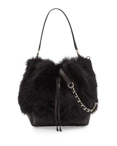 Shearling Fur Bucket Bag, Black