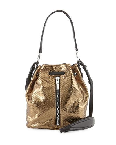 Cynnie Mini Metallic Snake-Print Bucket Bag, Bronze
