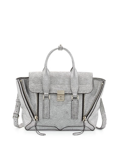 Pashli Medium Leather Satchel Bag, Silver