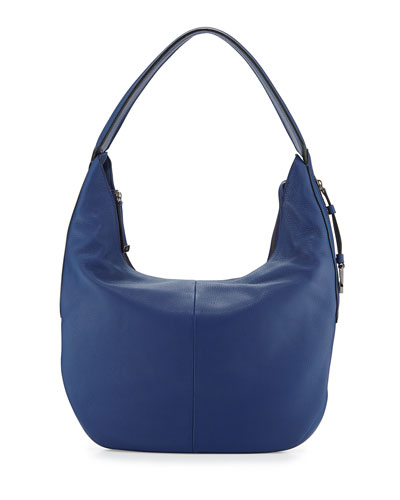Leather Slouch Hobo Bag, Cobalt