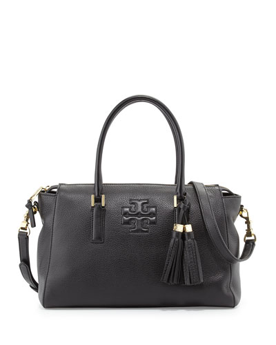 Thea Leather Zip Satchel Bag, Black