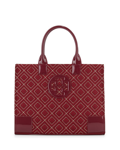 Ella Quilted Nylon Tote Bag, Cabernet/Gold