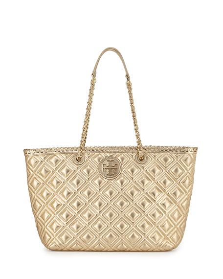 Tory Burch Marion Small Quilted Metallic Tote Bag Gold