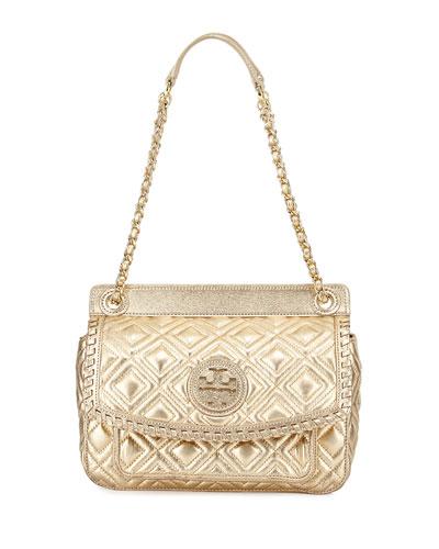 Marion Quilted Metallic Shoulder Bag, Gold