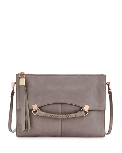 Nora Leather Crossbody Bag, Cement Gray