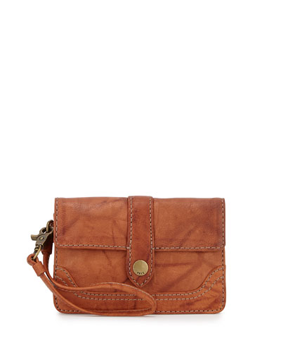 Campus Tumbled Leather Wristlet, Saddle