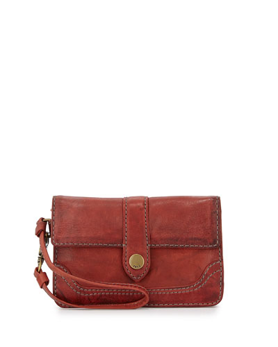 Campus Tumbled Leather Wristlet, Burnt Red