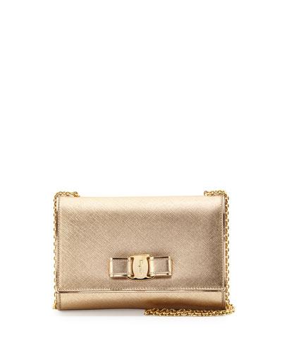 Miss Vara Bow Saffiano Crossbody Bag, Oro