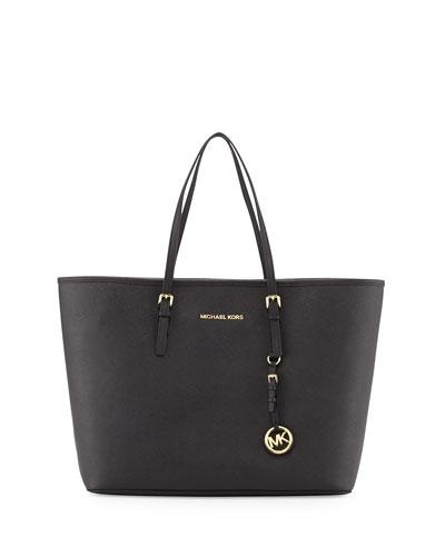 Jet Set Medium Saffiano Travel Tote Bag, Black