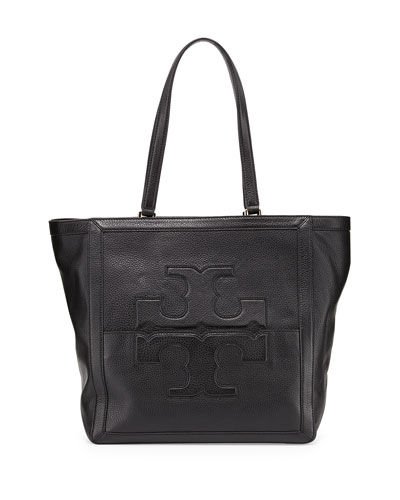 Jessica Leather Tote Bag, Black