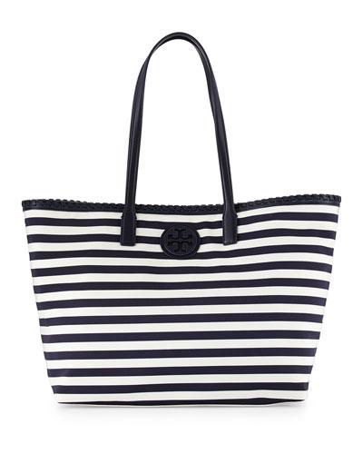 Marion Striped Nylon Tote Bag