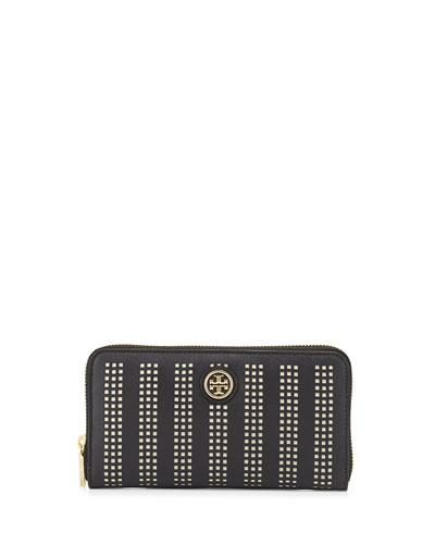 Robinson Perforated Continental Zip Wallet, Black/Birch