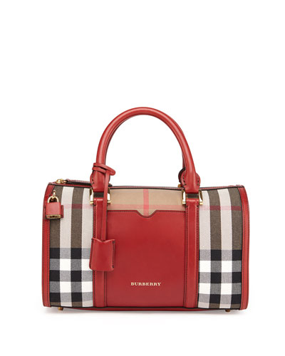Check & Leather Medium Satchel Bag, Military Red