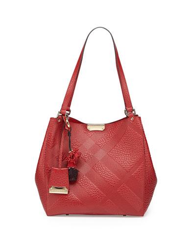 Check-Embossed Tassel Tote Bag, Military Red