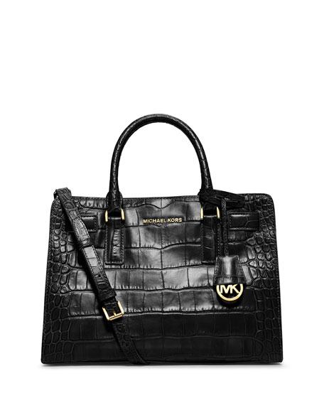 15d8840a10d180 MICHAEL Michael Kors Dillon Croc-Embossed Satchel Bag, Black