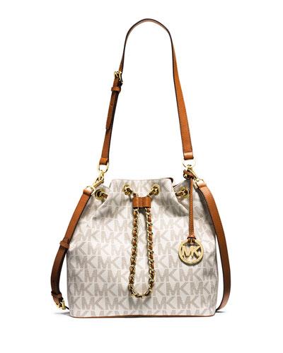 Frankie Large Convertible Drawstring Shoulder Bag, Vanilla
