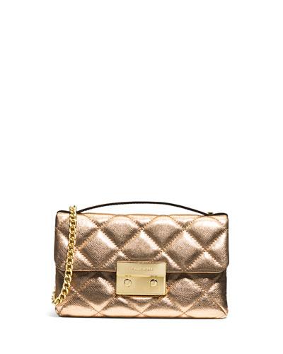 Sloan Small Quilted Messenger Bag, Pale Gold