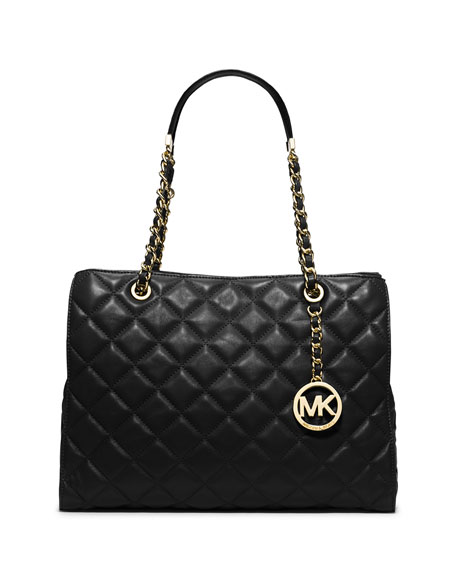Michael Michael Kors Susannah Large Quilted Tote Bag Black
