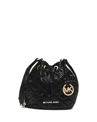 Jules Snake-Print Crossbody Bag, Black