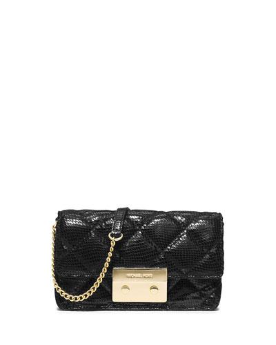 Sloan Quilted Snake-Print Crossbody Bag, Black