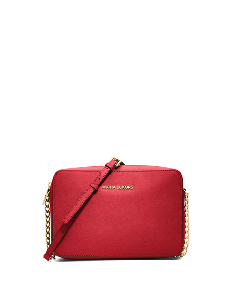 Jet Set Travel Large Saffiano Crossbody Bag Red