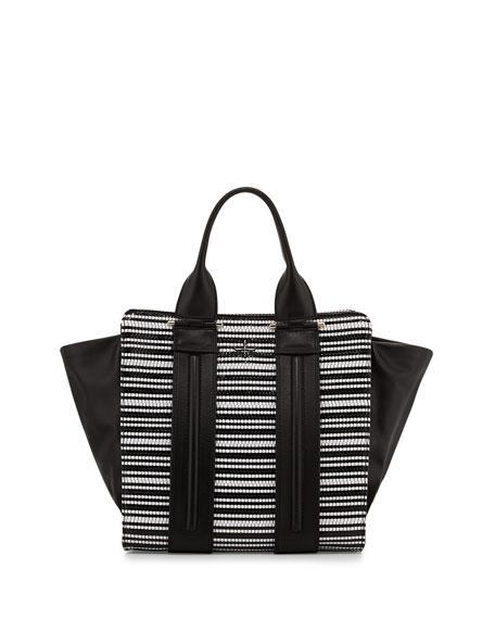 Two Tone Woven Tote Bag Black White