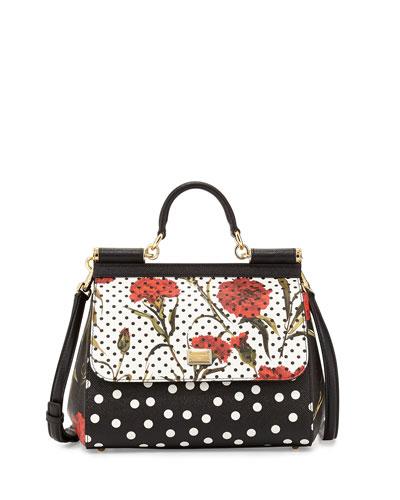 Miss Sicily Floral & Dot Printed Satchel Bag