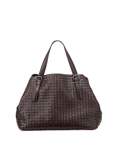 Large Woven A-Shape Tote Bag, Dark Brown