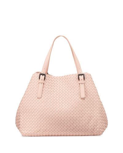 Large Woven A-Shape Tote Bag, Pink