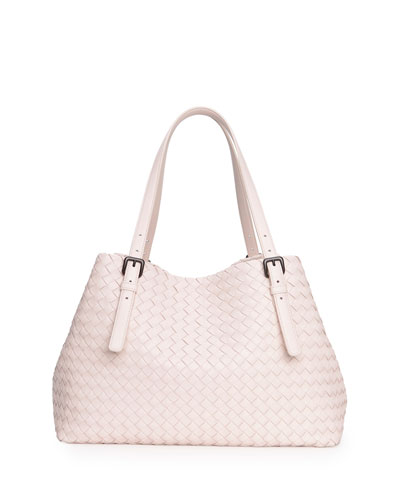 A-Shape Woven Tote Bag, Pale Pink