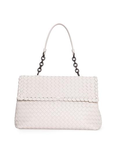 Olimpia Medium Shoulder Bag, White