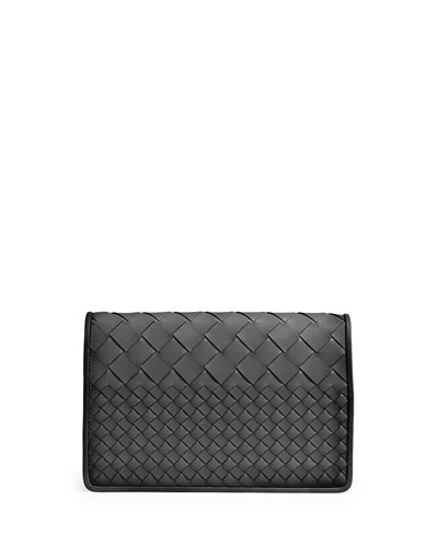 Intrecciato Medium Woven Clutch Bag, Black