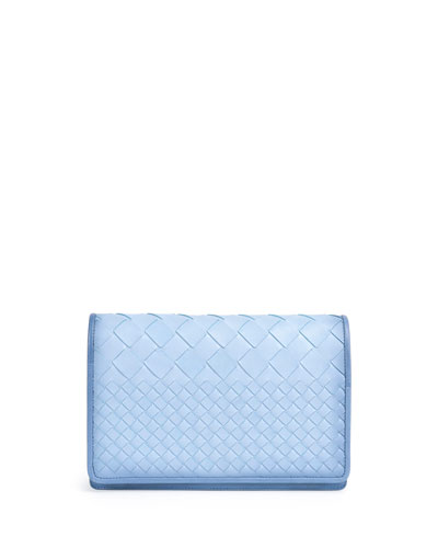 Intrecciato Medium Woven Clutch Bag, Light Blue