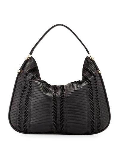 Zoe Large Pleated Hobo Bag, Black